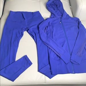 LULULEMON ROYAL BLUE HOODIE AND PANT SET SZ 12